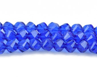 6mm Helix Crystal Beads, Faceted BLUE SAPPHIRE Transparent Glass Crystal Beads, 100 beads, bgl1548