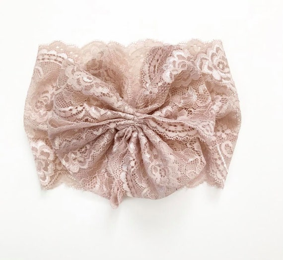 NEW DUSTY ROSE Lace Oversized Wrap with Cinched Finished or Bow Finish - stretch head wrap/turban/headband / adult / winter/ fall child baby