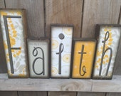 FAITH or Personalized Family Name Blocks - Tall Sky Blocks - Great Mantel Centerpiece