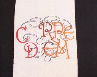 """Tea Towel embroidered with """"Carpe Diem""""- colorful, magickal, kitchen, housewarming gift"""