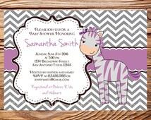 Purple Zebra Baby shower Invitation Girl, Purple, Gray, Baby Shower Invite Zebra, Baby Shower Invitation, Digital, 1685