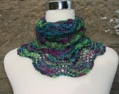 Luxury infinity cowl / neckwarmer / snood. Hand knitted.Hand dyed  BFL and silk wool. Neon.