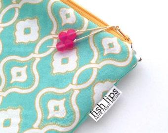 Aqua Woven Chain Wet Bag, Water Resistant Bikini Bag, Tropical Bag Zipper Pouch, Recycled Canvas, Handmade Gift for Mom, Cloth Diaper Bag