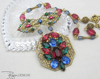 Repurposed Rhinestone Necklace Statement Necklace Vintage Assemblage Jewelry Czech Rhinestone Unique Jewelry For Her One of a Kind Jewelry