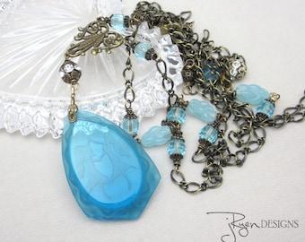 Vintage Art Nouveau Necklace - Assemblage Art Nouveau Glass Pendant Necklace - Downtown Abbey Long Necklace - OOAK Assemblage Vintage