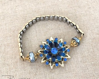 Blue Rhinestone Bracelet - Vintage Repurposed Bracelet - Watch Band Bracelet - Blue Flower Bracelet - Unique Jewelry For Her