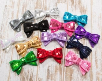 Sequin Bows, Wholesale bows, Mini sequin bows, appliqué bows, sparkle bows, headband supplies, DIY hair accessories, toddler, baby, cheer