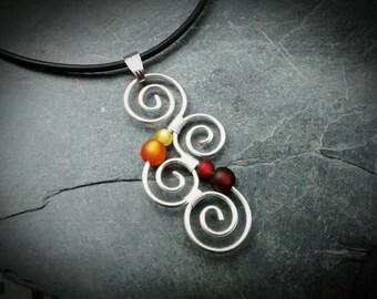 Necklace - LUMINATE - with Polarisbeads Red & Orange  New Zealand Koru wire wrapped - Maori Symbol - wirework - silver, meaningful, feminine