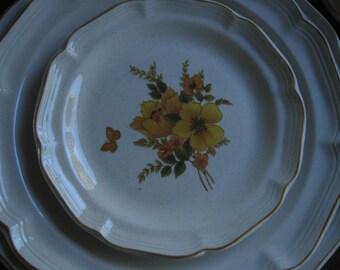 Sangostone Dessert/ Salad Plates, Butterfly, Made in Korea, Sango