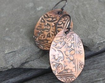 Athena Etched Copper Earrings - Artisan Etched Copper Earrings,  floral earrings, etched earrings, etched copper jewelry