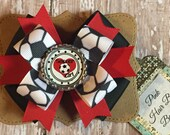 Red black and white soccer hair bow - 4 inch hair bow