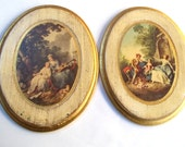 Vintage Italian Florentine Victorian Scenes Wall Plaques /Victorian Life Gold Gilt /Decorative Victorian People Prints