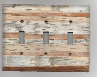 birch bark covered light switch plate - Triple Toggle (3 three)