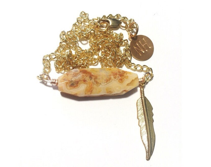 Crazy Lace Agate + Feather Necklace // Jewelry // Free Spirit Collection