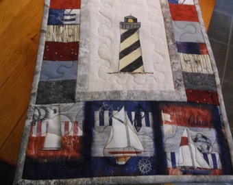 hand painted machine quilted table runner