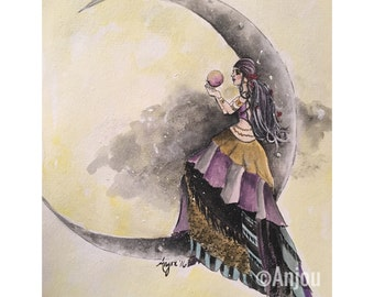 Mirella - Original Watercolor Painting on Paper ~ Gypsy Gazing into a Crystal Ball on a Crescent Moon ~ OOAK Fantasy Crystal Ball Bohemian