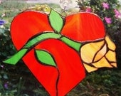 SUNCATCHER Romance, Stained Glass, Red HEART,  Apricot Rose, copper art, home decor, home and living, ornaments.