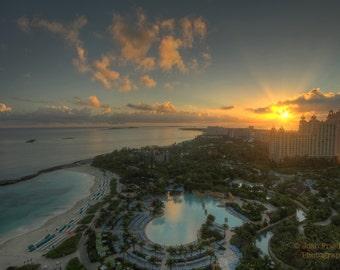 Sunrise in Atlantis, Landscape Photograph, Bahamas, Tropical Resort, Beach Decor, Color, Morning, Caribbean, Sun, Travel Art Print, Ocean