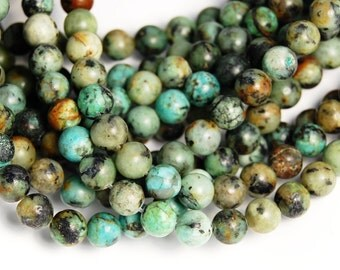 African Turquoise Jasper 4mm round beads - 15.5 inch strand