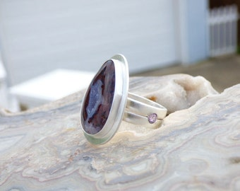 Red Plume Agate Multi Stone Sterling Silver Ring 6 1/2