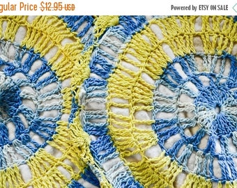 ON SALE Vintage Crocheted Hot Pads, Blue and Yellow pot holders