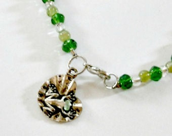 Sale green glass bead frog and lily pad anklet frog jewelry green anklet beaded anklet handmade glass beads