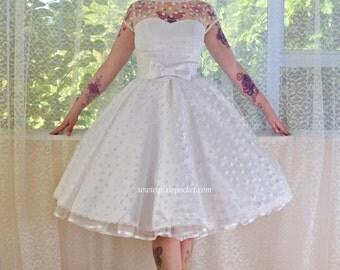 Ivory 1950's 'Mary Jane' Style Wedding Dress with Polka Dot Overlay, Sweetheart Neckline, Tea Length Skirt & Petticoat - Custom made to fit
