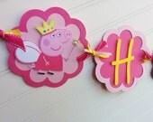 Peppa Pig banner, Girls Birthday banner. Peppa Pig Birthday Banner. First Birthday Banner.  Peppa Pig Decorations.