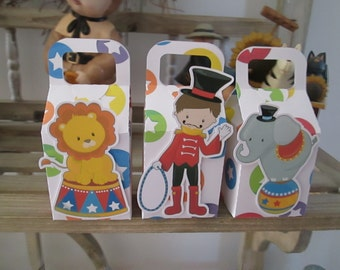 Circus Ringmaster and Friends Favor Boxes Set of 12