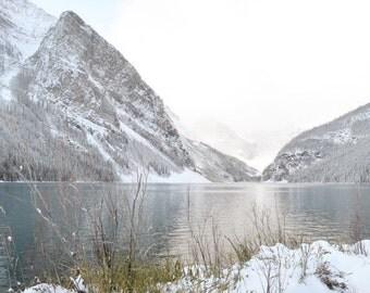 Lake Louise Photography Print 12x18 Fine Art Banff Canada Mountain Wilderness Snow Winter Landscape Photography Print.