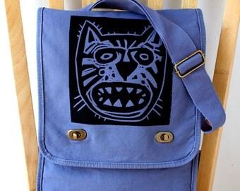 Hangry Cat Canvas Laptop Bag Messenger Bag