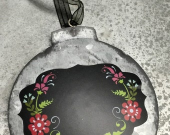 Christmas Ornament Galvanized Chalkboard