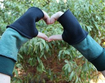 Fingerless Gloves Black, Greens Hand Dyed Organic Hemp Cotton