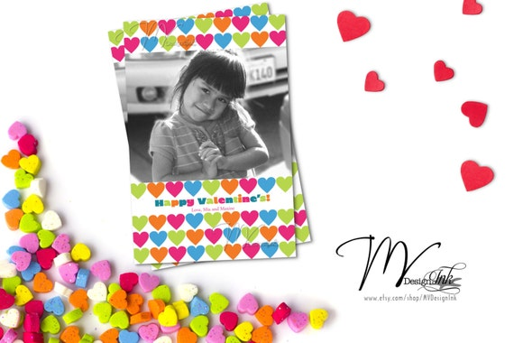 Valentine Photo Card, Multicolored Valentine Photo Card, Valentine Personalized Photo Card, Happy Valentine's Card-DIY
