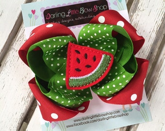 Watermelon bow -- Summertime Sweetness -- red and apple green polka dots -- Darling Little Bow Shop