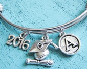 graduation gift, personalized graduation gift 2016, class of 2016 gift, new graduate gift, college graduation bracelet, senior student gift