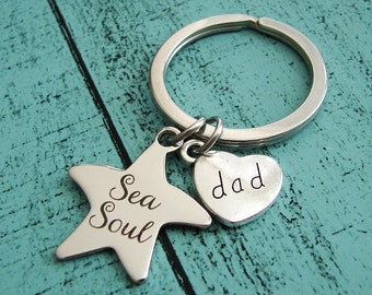 natuical gift for dad keychain, beach dad gift, love sailing gift, sea soul keychain, dad gift from kids, gift for dad, fathers day gift