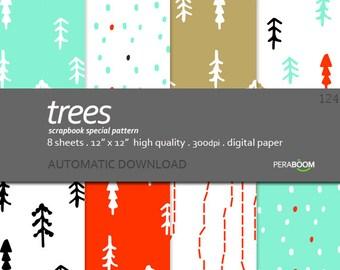 Minimal Digital Paper Pack, Minimalist Scandinavian Digital Paper, Red and Aqua blue Scrapbook Paper, Small commercial Use, Instant Download