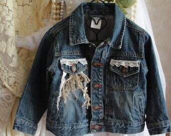 Girls jean jacket, 3 T, upcycled, lace boho, bohemian