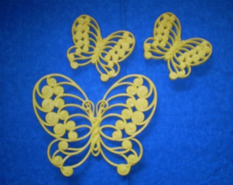 Vintage Set of 3 Yellow Butterflies.