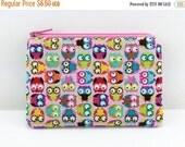 Summer SALE Pink Owls Coin Purse, Zipper Pouch, Small Gadget Case, Card Pouch, Gift idea, Mini Wallet, Padded
