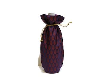 Wine Bag handmade Banaras sari fabric woven brocade dark purple red medallions gift bag Hostess gift favors reusable