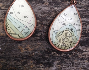 Vintage Nautical Chart Map Copper Dangle Drop Earrings