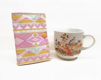 tea wallet travel tea bag holder tea bag caddy tea bag wallet tribal yellow pink