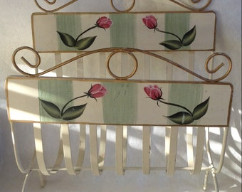 1950s Painted Curvy Metal Magazine Rack With Handpainted Roses