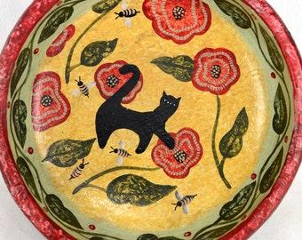 Carol Endres, original painting, wood bowl, folk art, primitive, cat, bees, red, gold, Palecek, Bee Home