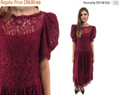On Sale - Vintage 80s Floral Lace Dress, Drop Waist, Burgundy Lace Dress, Puff Sleeves, 80s Party Dress, Maxi Lace Dress Δ size: sm