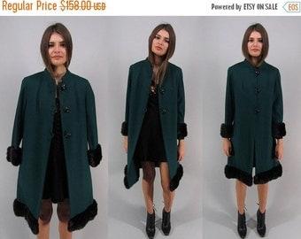 On Sale - Vintage 60s Mink Fur Trim Coat, Wool Coat, 60s Wool Coat, Tailored Wool Coat Δ fits sizes: xs / sm / md