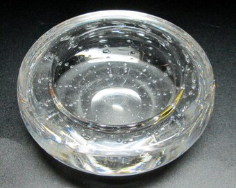 controlled bubble bowl / ashtray , mid century modern clear glass unmarked