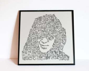 "Joey Ramone - The RAMONES - Biographical Intricate doodle portrait - Punk Wall Art - Ltd edition of 100 - 8"" x 8"""